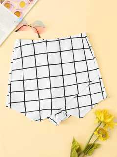 Overlap Front Grid Skirt Shorts