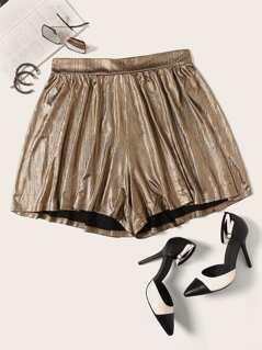 Plus Elastic Waist Metallic Shorts