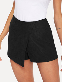 Asymmetrical Hem Solid Wrap Shorts