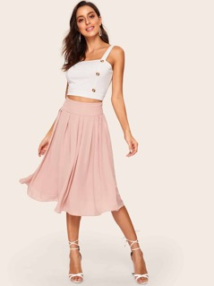Wide Waistband Box Pleated Skirt