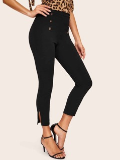 Double Breasted Slit Hem Pants