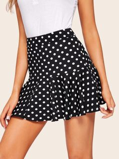 Ruffle Hem Polka-dot Print Skirt
