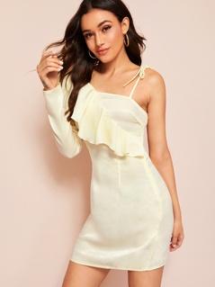 Asymmetrical Sleeve Ruffle Embellished Dress