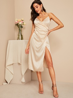 Surplice Neck Strappy Satin Dress