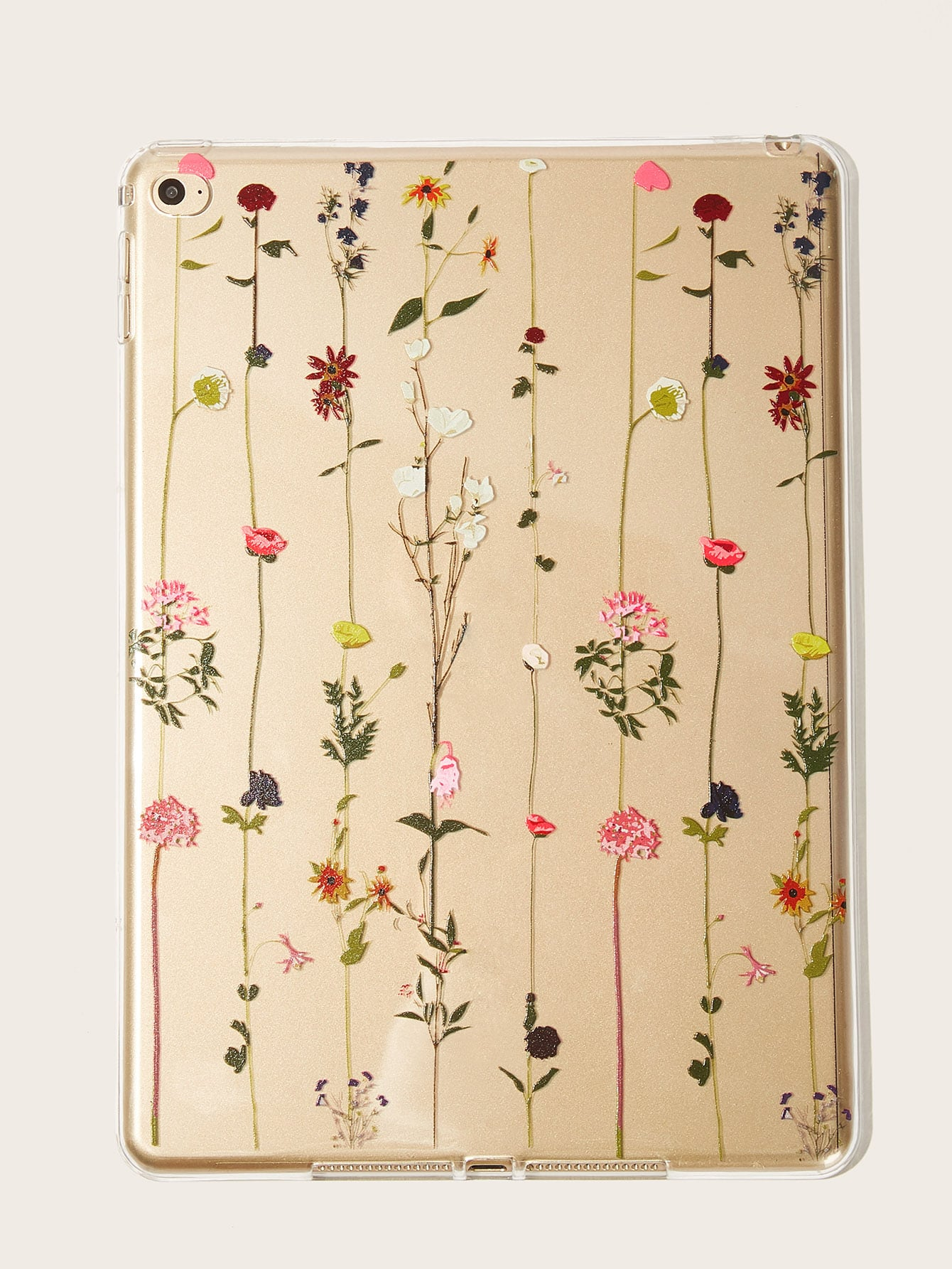 Flower Pattern Transparent iPad Case null