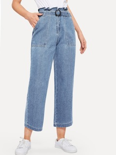 Ruffle Waist Culotte Jeans With Belt