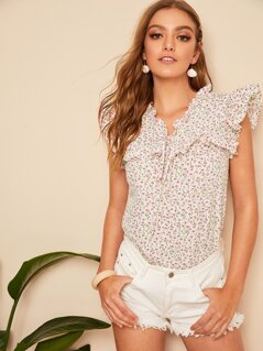 Ditsy Floral Tie Neck Ruffle Top