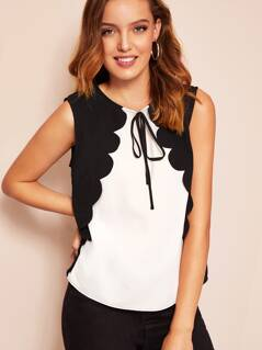 Two Tone Scalloped Trim Tie Front Top