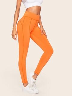 Neon Orange Topstitching Leggings