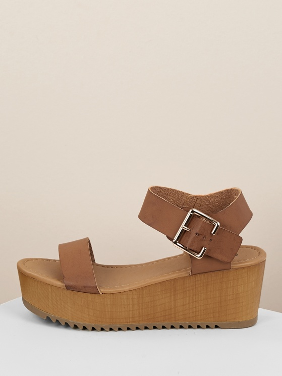 df4256ebf48 Thick Buckled Ankle Strap Single Band Wedge Sandals TAN