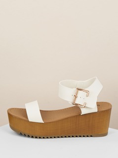 Thick Buckled Ankle Strap Single Band Wedge Sandals