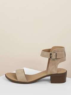 Open Toe Chunky Heel Ankle Strap Sandal