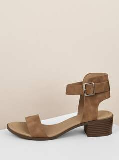 Buckle Ankle Strap Low Block Heels