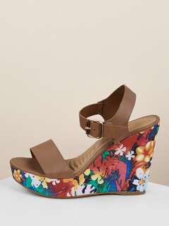 Open Toe Buckled Strap Flower Platform Wedges