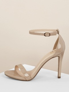 Patent Solid Band Buckled Ankle Stiletto Sandals