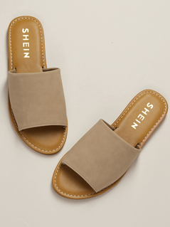 Wide Nubuck Single Band Slide Sandal NUDE