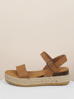 Open Toe Buckled Strap Jute Flatform Sandals