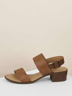 Double Band Ankle Strap Low Block Sandal