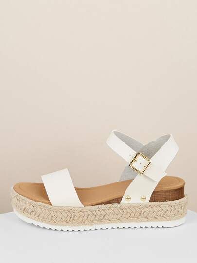 Band SandalsShein Wedge Espadrille Single Platform vmnwN80O