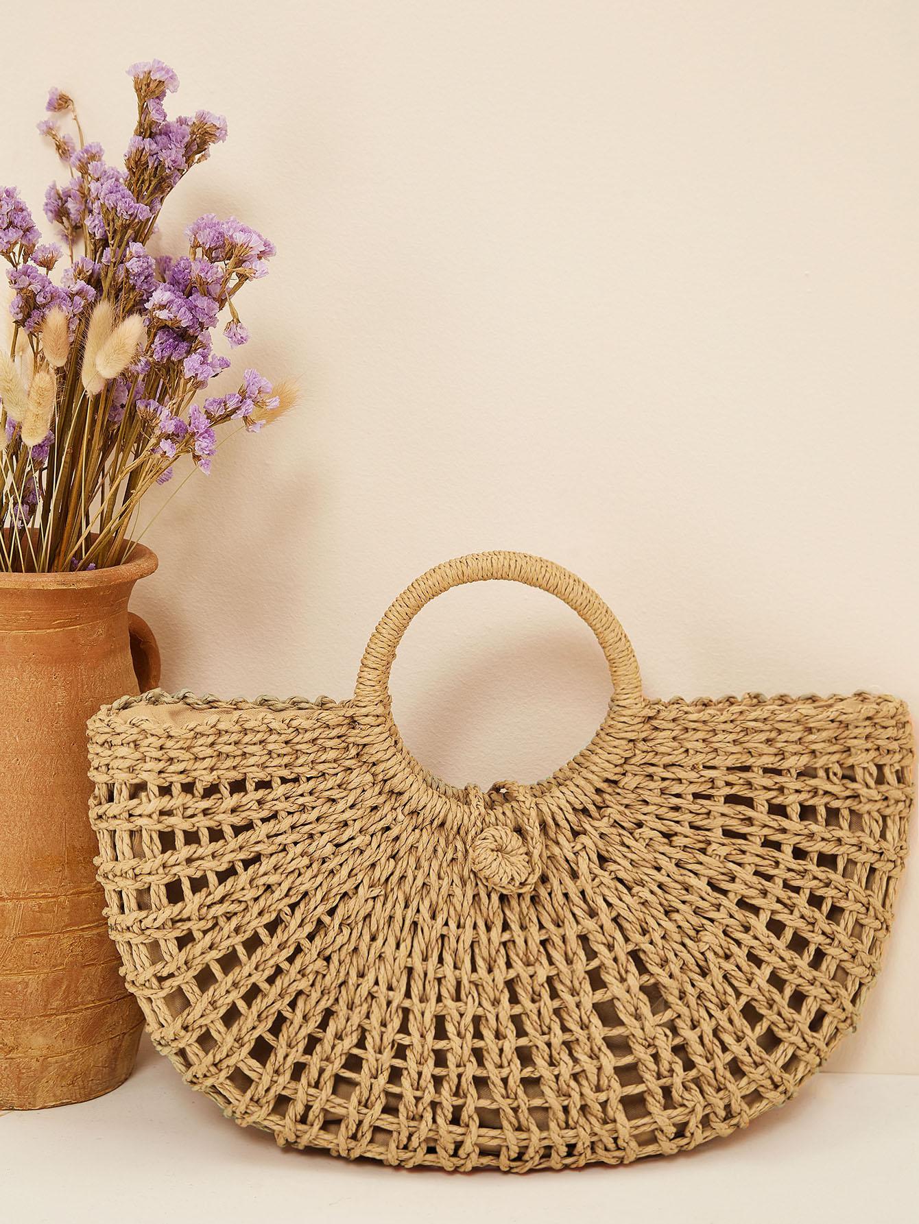 Плетеная большая сумка с кольцевой ручкой SheIn