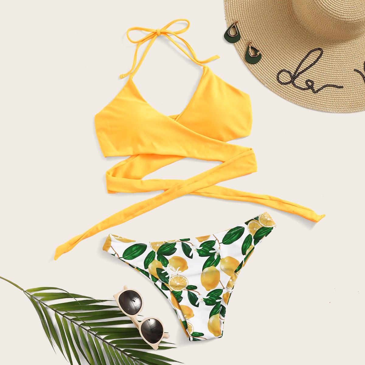 Haltertop wrap met willekeurige bikiniset met citroendruk