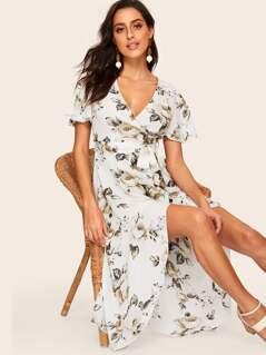 80s Flutter Sleeve Floral Wrap Dress