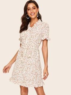 80s Frilled Trim Calico Print Dress
