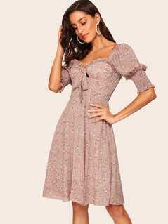 80s Shirred Cuff Frill Detail Bodice Dress