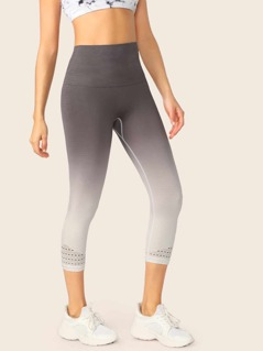 High Waisted Dip Dye Rib Knit Capri Leggings