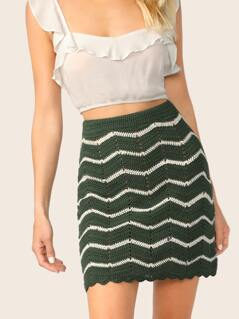 Chevron Striped Scallop Hem Crochet Skirt
