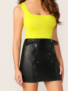 Buckle Waist Double Zipper Faux Leather Mini Skirt