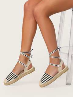 Wrapped Ankle Striped Jute Trim Espadrilles