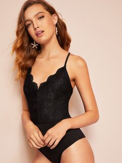 Criss-cross Backless Lace Insert Skinny Bodysuit