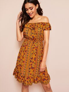 Off Shoulder Ruffle Trim Floral Print Dress