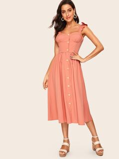 8e253277cd 60s Button Front Ruffle Strap Fit & Flare Dress