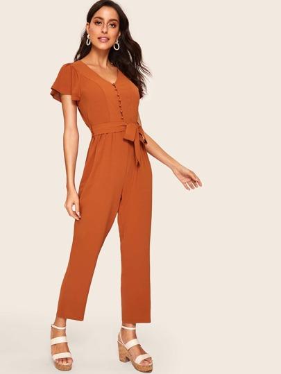 SheIn / Flutter Sleeve Buttoned Solid Jumpsuit