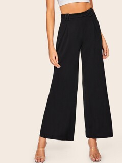 Fold Over Pleated Detail Palazzo Leg Pants