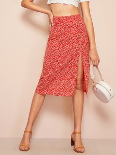 Button & Slit Front Calico Print Skirt