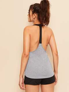 Heathered Gray Racer Back Tank Top