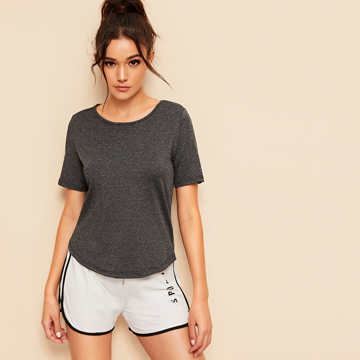 Grijs Vlak Sport T-shirts Contrast mesh