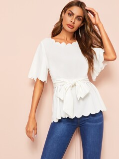 Scallop Edge Self Belted Top