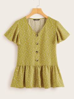 Ditsy Floral Button Through Tea Blouse