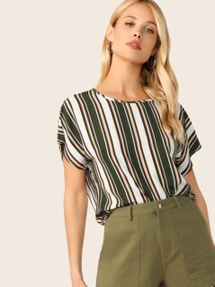 Keyhole Back Colorblock Striped Top