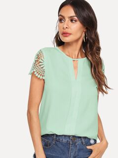 V-cut Neck Lace Sleeve Pleated Placket Top