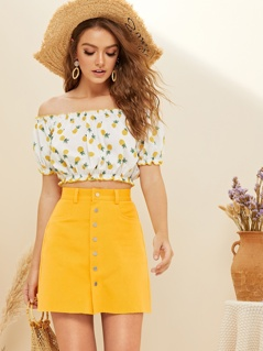 Frilled Off Shoulder Pineapple Print Crop Top