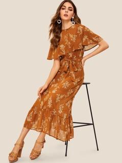 Buttoned Detail Foldover Front Flippy Hem Floral Dress
