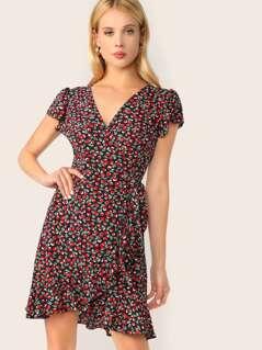 Cherry Print Tie Waist Surplice Wrap Dress