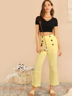 Double Button Flare Leg Crop Pants