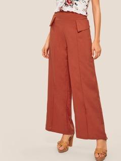Foldover Detail Zip Back Wide Leg Pants