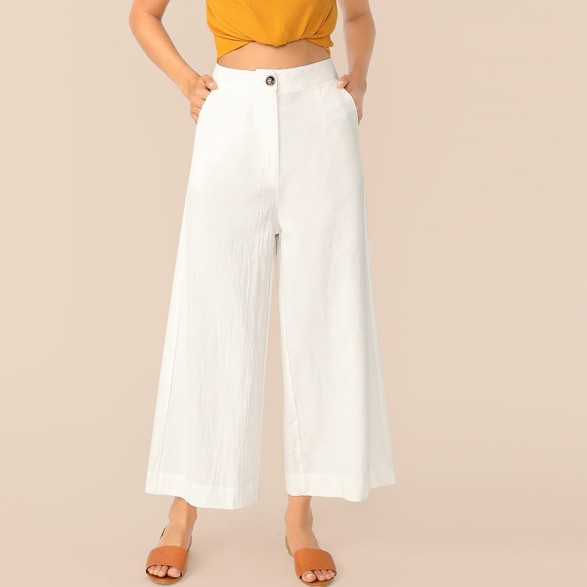 Однобортные широкие брюки фото